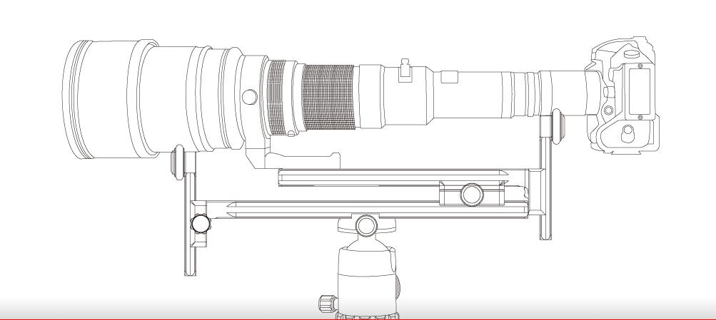 Sunwayfoto DMC-225R Vertical Rail with (On-End) Clamp