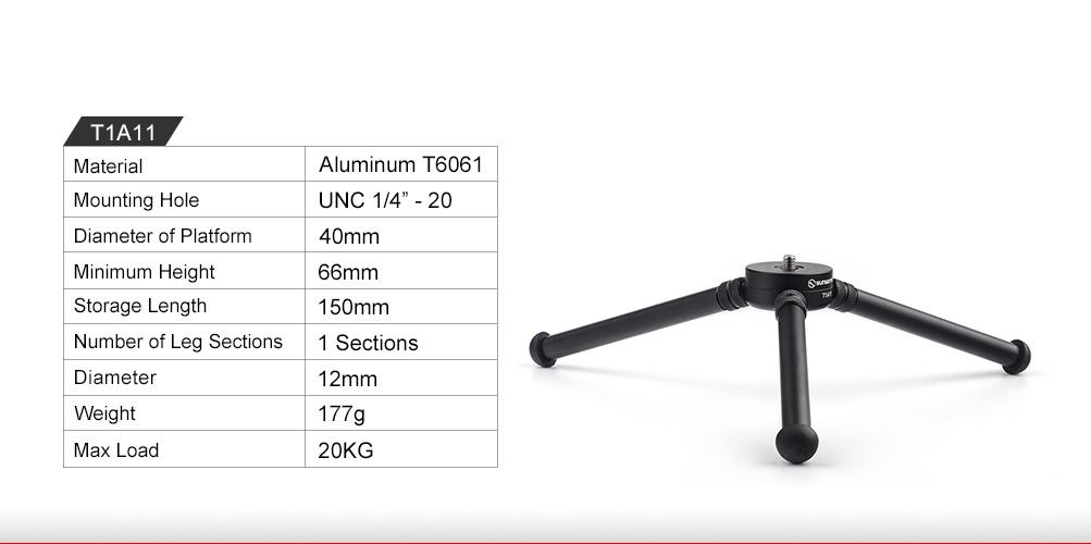 Sunwayfoto T1A11-11 Mini Aluminium Table Tripod