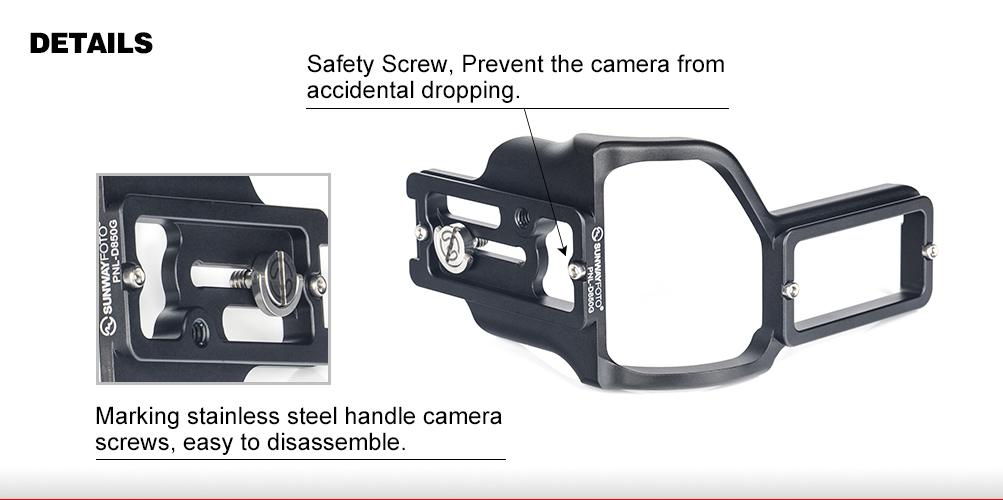 Sunwayfoto PNL-D850G Custom L Bracket for Nikon D850 with Battery Grip