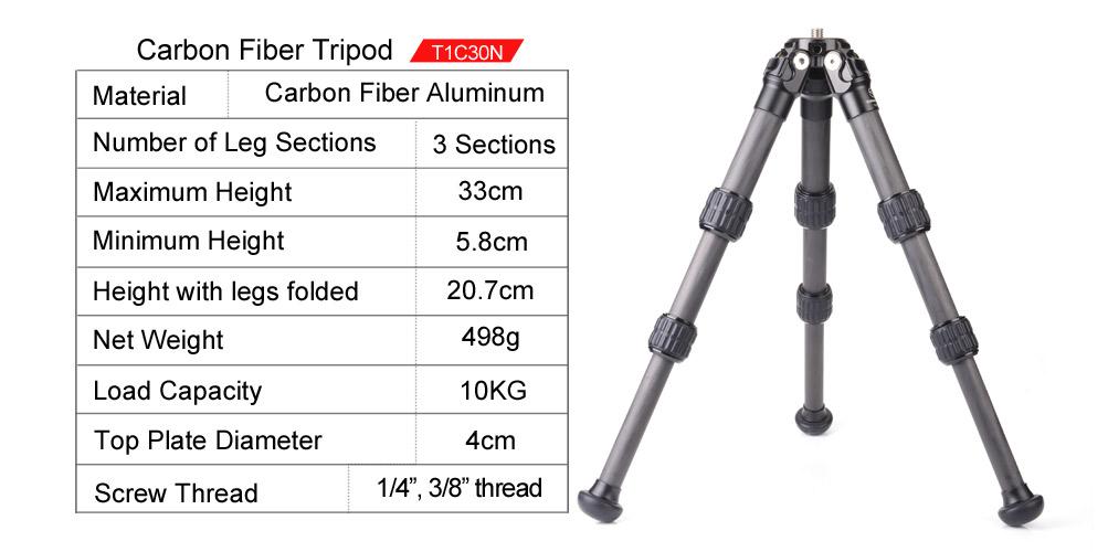 Sunwayfoto T1C30N-T Mini Carbon Fibre Tripod with XB-28II Ball head